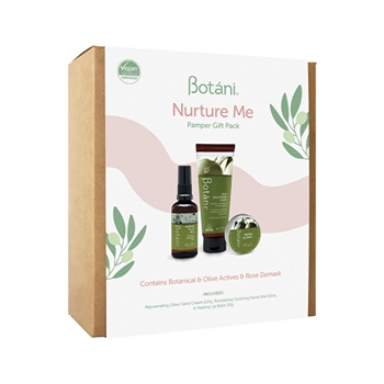 Botani Nurture Me Pamper Gift Pack (contains: Olive Hand Cream, Healing Lip Balm & Soothing Facial Mist)