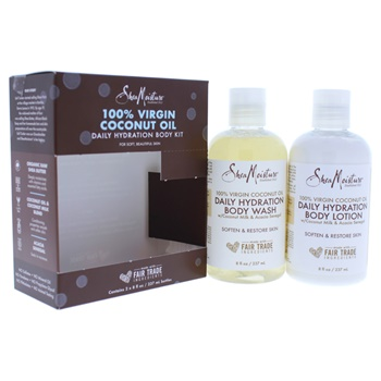 Shea Moisture 100 Percent Virgin Coconut Oil Daily Hydration Body Kit 8oz Body Wash, 8oz Body Lotion