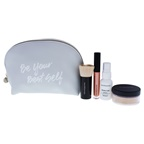 BareMinerals Be Your best Self Set 0.56oz Original Foundation SPF 15 - 01 Fair, 0.1oz Plumping Lipglos - Leading Lady, 1oz Prime Time Foundation - Original, Beautiful Finish Brush, Cosmetic Bag