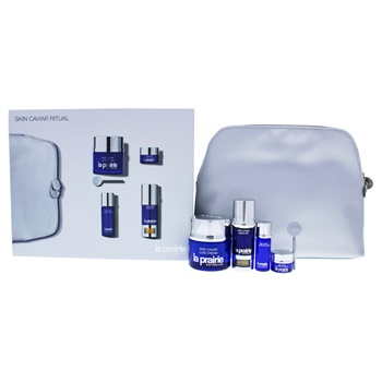 La Prairie Skin Caviar Ritual Set 1.7oz Luxe Cream, 0.34oz Essence-In-Lotion, 0.24oz Liquid Lift, 0.10oz Luxe Eye Lift Cream, Cosmetic Bag