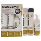 Bosley Bos Defense - Normal to Fine Color-Treated Hair 5.1oz Nourishing Shampoo, 5.1oz Volumizing Conditioner, 3.4oz Thickening Treatment