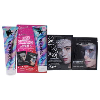 Glamglow Easy Glowing Cleanser Plus Sheet Mask Set 5oz Cleanser, Eye Mask, Sheet Mask