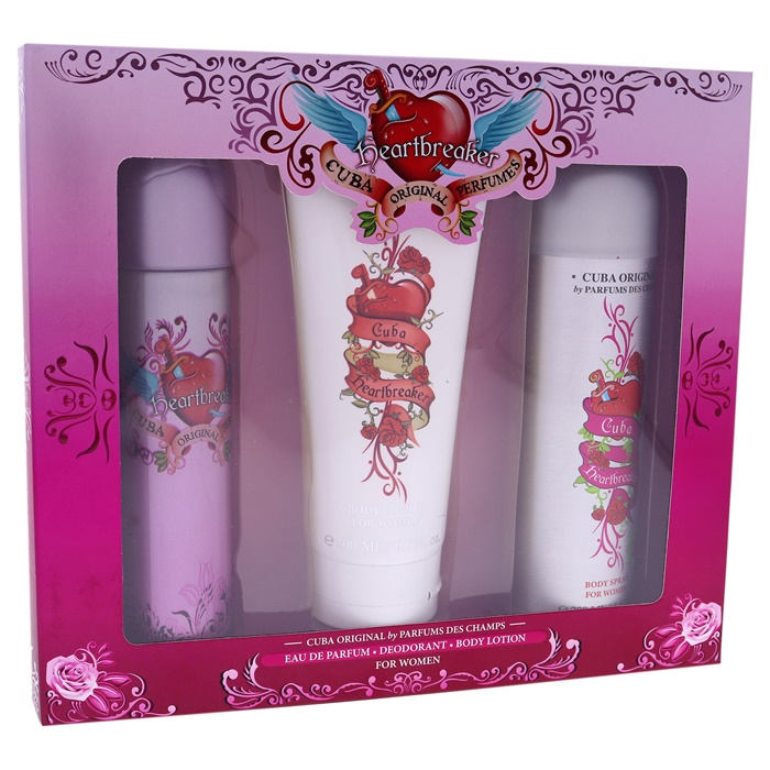 Cuba Cuba Heartbreaker 3.3oz EDP Spray, 6.7oz Body Spray, 4.3oz Body Lotion