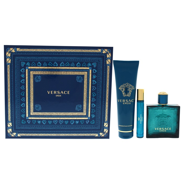 Versace Versace Eros 3.4oz EDT Spray, 0.3oz EDT Spray, 5.0oz Invigorating Shower Gel