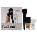 BareMinerals Discover Barepro Liquid Foundation Starter Kit 0.47oz BarePro Performance Wear Liquid Foundation SPF 20 - 18 Pecan, 0.5ozPrime Time Original Foundation, Luxe Performance Brush