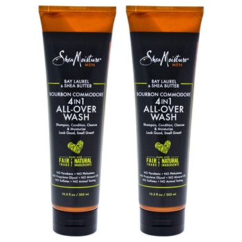 Shea Moisture Bay Laurel & Shea Butter Bourbon Commodore 4-In-1 All-Over-Wash - Pack of 2 Body Wash