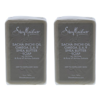 Shea Moisture Sacha Inchi Oil Omega-3-6-9 Rescue Shea Butter Soap - Dry to Extra-Dry Skin - Pack of 2 Bar Soap