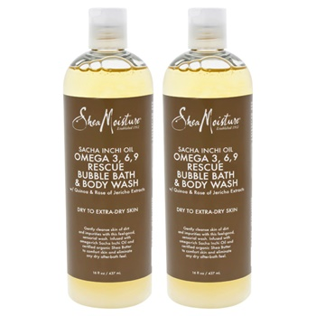 Shea Moisture Sacha Inchi Oil Omega-3-6-9 Rescue Bubble Bath & Body Wash - Pack of 2