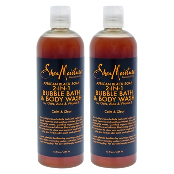 Shea Moisture African Black Soap 2-in-1 Bubble Bath & Body Wash - Pack of 2