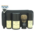 The Art Of Shaving Travel Kit - Unscented 1oz Pre-Shave Oil, 1.5oz Shaving Cream, 1oz After-Shave Balm, Shaving Brush, Razor, Cartridge, Leather Case