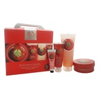 The Body Shop The Strawberry Collection Travel Exclusive 6.75oz Body Butter, 2.5oz Body Polish, 6.75oz Body Sorbet, 1oz Hand Cream
