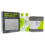 DevaCurl How To Quit Shampoo Kit 8oz No-Poo Original Zero-Lather Conditioning Cleanser, 8oz One Condition Original Daily Cream Conditioner, Devatowel Mini