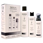 Nioxin System 2 Noticeably Thinning For Fine Hair Kit 10.1oz Cleanser, 5.07oz Scalp Therapy, 3.38oz Scalp Treatment
