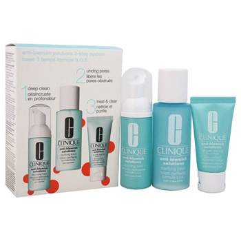 Clinique Anti-Blemish Solutions 3-Step System 1.7oz Cleansing Foam, 3.4oz Clarifying Lotion , 1oz All-Over Clearing Treatment Oil-Free