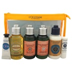 L'Occitane En Provence Travel Set 2.5oz Shower Oil Cleansing and Softening, 2.5oz Shampoo Dry and Damaged Hair, 2.5oz Conditioner Dry and Damaged Hair, 2.5oz Ultra Rich Body Lotion, 0.3oz Shea Butter Hand Cream