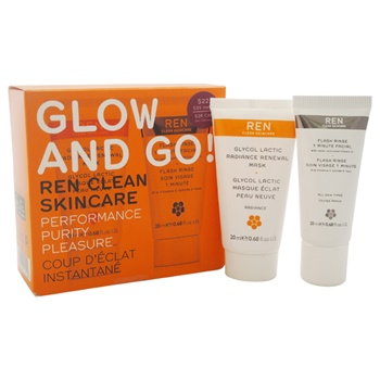 Ren Glow and Go! 0.68oz Flash Rinse 1 Minute Facial, 0.68oz Glycol Lactic Radiance Renawal Mask