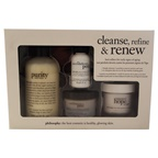 Philosophy Cleanse Refine & Renew Kit 8oz Purity Made Simple, 1oz The Microdelivery Peel Lactic/Salicilic Acid Activating Gel, 1oz The Microdelivery Peel Vitamin C/Peptide Crystal, 2oz Renewed Hope In a Jar