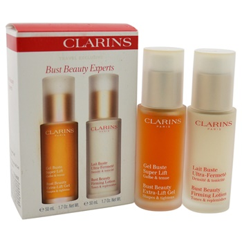 Clarins Bust Beauty Experts Set 1.7oz Bust Beauty Extra-Lift Gel Shapes & Lightens, 1.7oz Bust Beauty Firming Lotion Tones & Replenishes