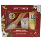 Burt's Bees Mani Pedi Set 3.38oz Peppermint Foot Lotion, 1.7oz Ultimate Care Hand Cream, 0.3oz Lemon Butter Cuticle Cream, EcoTools Foot Brush & Pumic