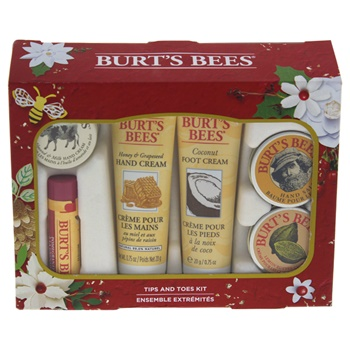 Burt's Bees Tips and Toes Kit 0.3oz Hand Salve, 0.25oz Almond & Milk Hand Cream, 0.3oz Lemon Butter Cuticle Cream, 0.75oz Coconut Foot Cream, 0.75oz Honey & Grapeseed Hand Cream, 0.15oz Pomegranate Moisturizing L