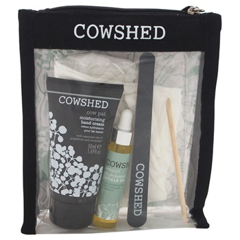 Cowshed Cow Pat Manicure Kit 1.69oz Cow Pat Hand Cream, 0.3oz Apricot Cuticle Oil, 100% Cotton Moisture Cloves, Emery Board, Cuticle Stick