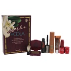 Benefit Cosmetic Do the Hoola Beyond Bronze Kit 0.22oz Ultra Plush in Hoola Lip Gloss Mini, 0.1oz They're Real! Beyond Mascara in Black Mini, 0.1oz Hoola Bronzing Powder Mini, Brush, 0.23oz Dew the Hoola Sheer Soft-Ma