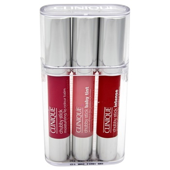 Clinique Chubby Stick Trio Balm 0.08oz Chubby Stick Baby Tint Moisturizing Lip Colour Balm - # 03 Budding Blossom, 0.10oz Chubby Stick Moisturizing Lip Color Balm - # 06 Woppin Watermelon, 0.10oz Chubby Stick
