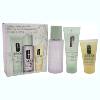 Clinique 3-Step Skincare System For Skin Type 2 Dry Combination 1.7oz Liquid Facial Soap Mild, 3.4oz Clarifying Lotion # 2, 1oz Dramatically Different Moisturizing Lotion+
