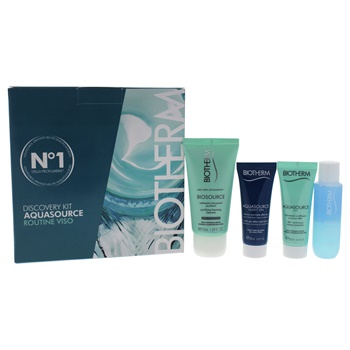 Biotherm Aquasource Discovery Kit 0.8oz Aquasource Gel, 0.8oz Aquasource Night SPA, 1.7oz Biosource Mousse Nettoyante PNM, 1.01oz Biocils Waterproof